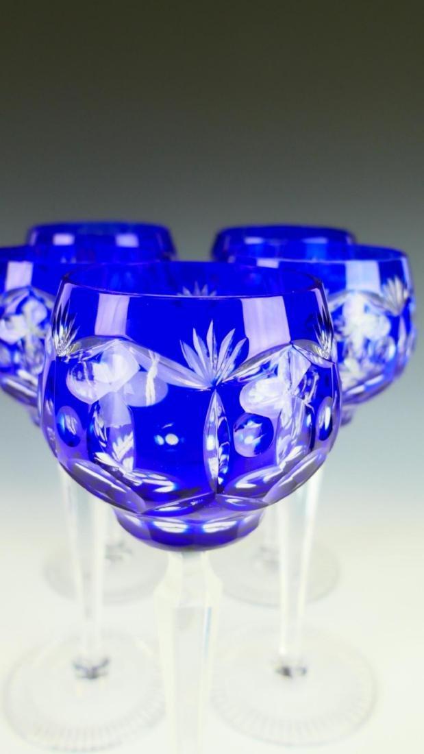 5 BOHEMIAN COBALT CUT TO CLEAR CRYSTAL STEM GLASSE - 4
