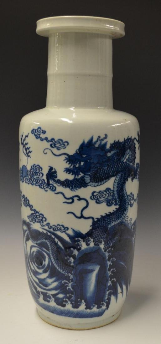 CHINESE BLUE & WHITE PORCLEAIN DRAGONS VASE