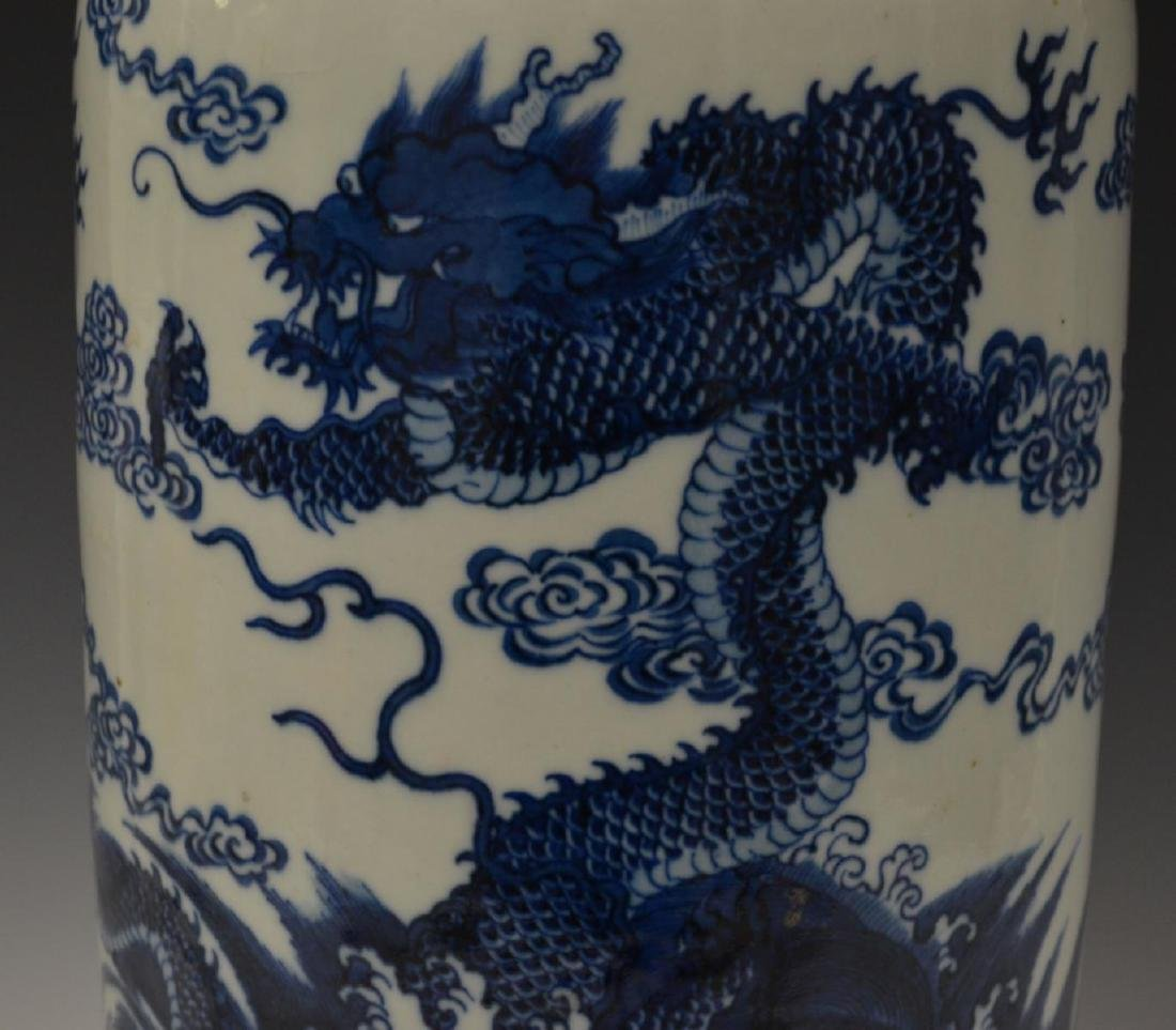 CHINESE BLUE & WHITE PORCLEAIN DRAGONS VASE - 2