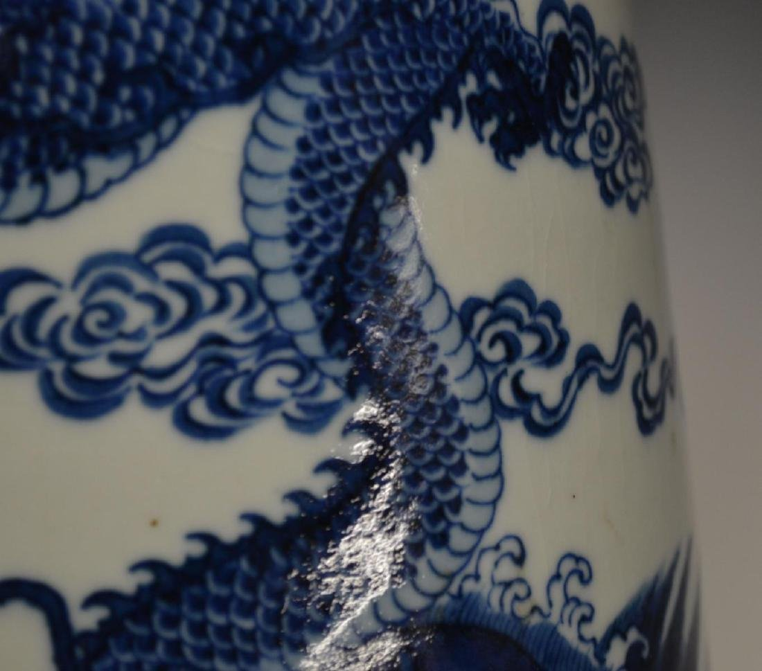 CHINESE BLUE & WHITE PORCLEAIN DRAGONS VASE - 4