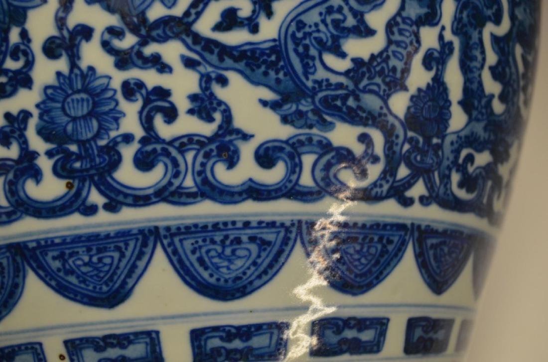 CHINESE BLUE & WHITE PORCELAIN FISH TANK JAR - 4