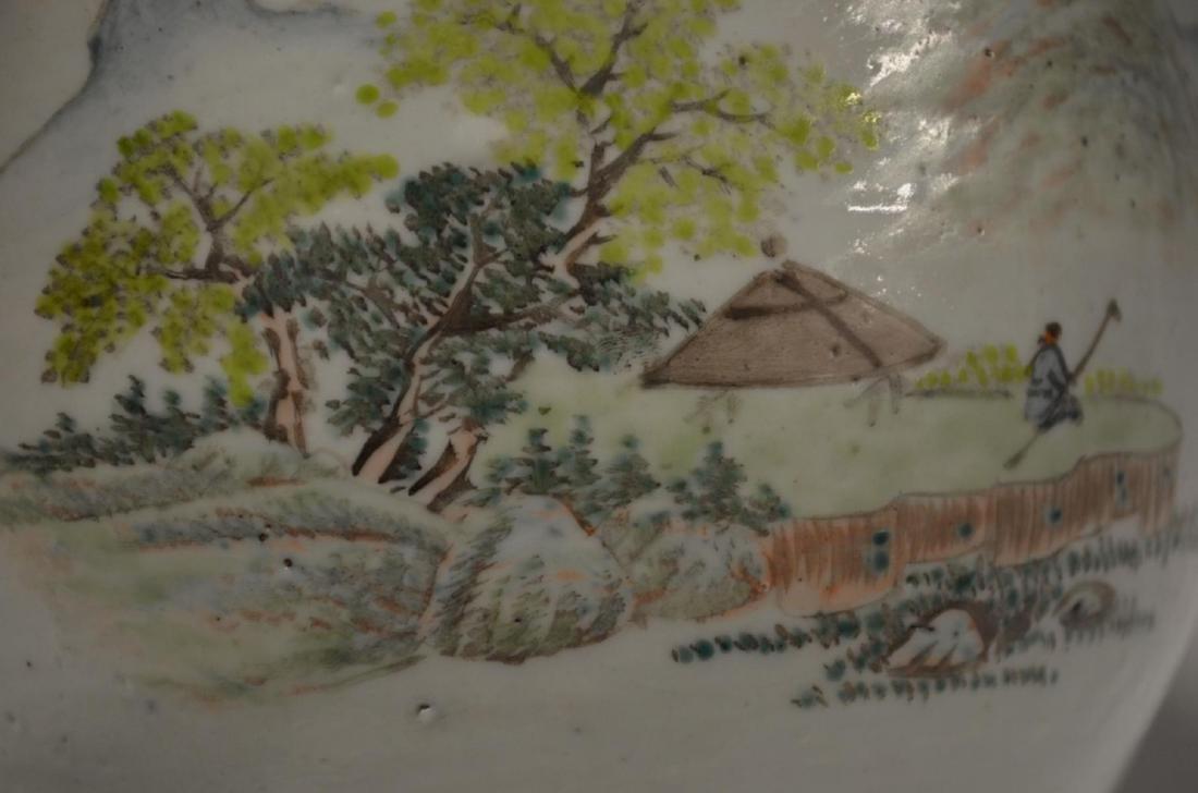 CHINESE FAMILLE ROSE PORCELAIN LANDSCAPE PLANTER - 2