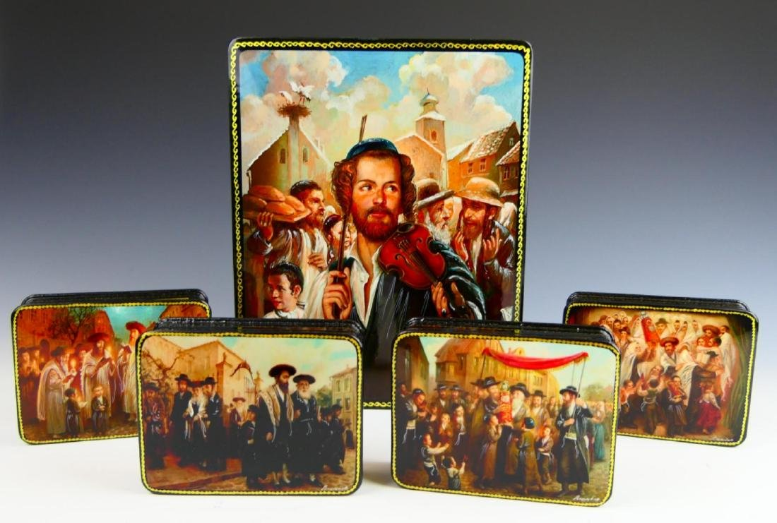 RUSSIAN SET OF 5 JUDAICA HINGED LACQUER BOXES
