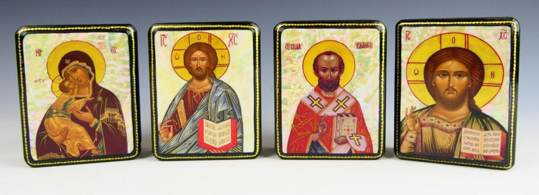 4 RUSSIAN MOP INLAY RELIGIOUS HINGED LACQUER BOXES