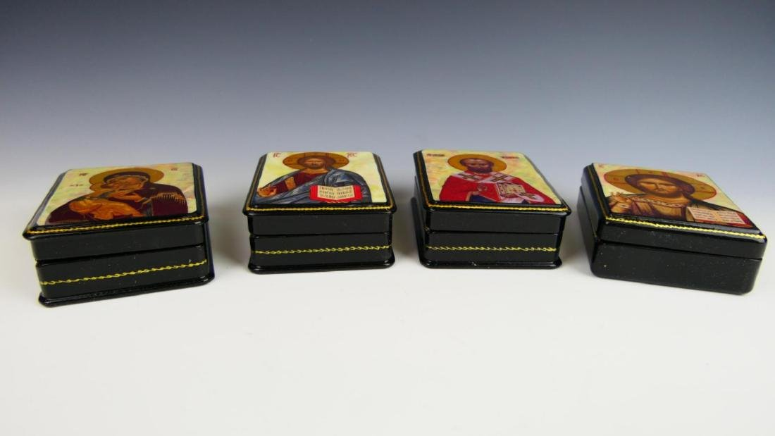 4 RUSSIAN MOP INLAY RELIGIOUS HINGED LACQUER BOXES - 3