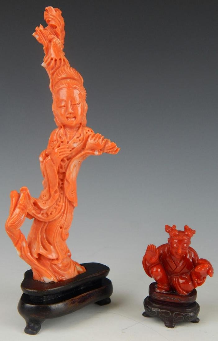 2 CHINESE CARVED SALMON & RED CORAL SCULPTURES