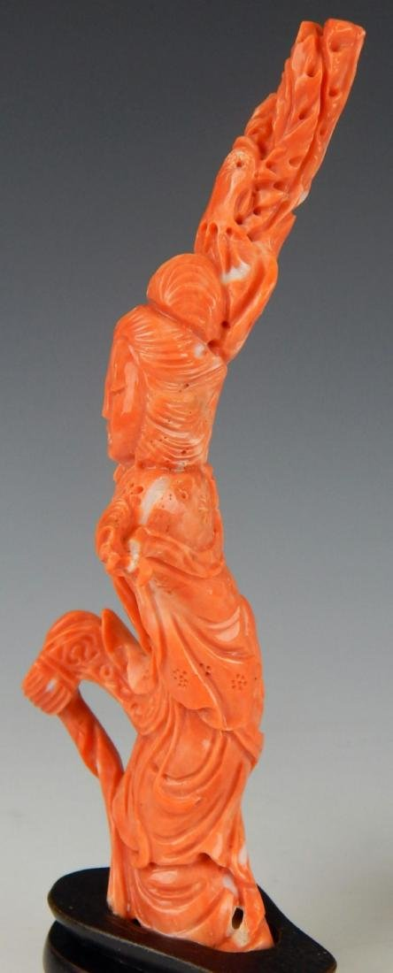 2 CHINESE CARVED SALMON & RED CORAL SCULPTURES - 7