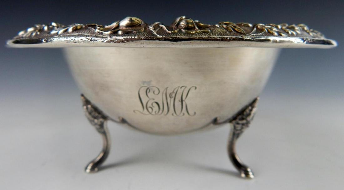 KIRK & SONS STERLING SILVER REPOUSSE FOOTED BOWL