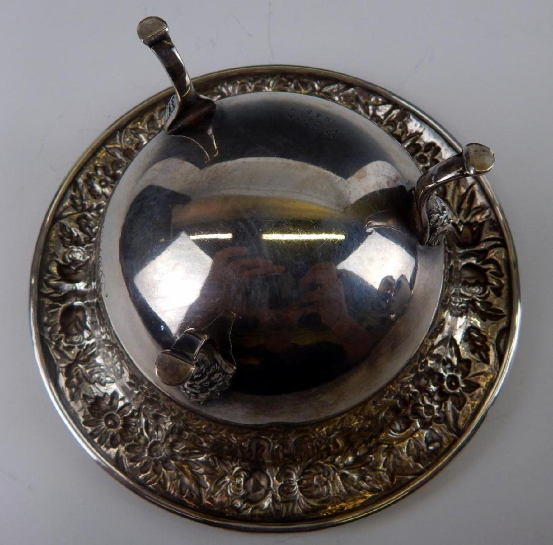 KIRK & SONS STERLING SILVER REPOUSSE FOOTED BOWL - 5