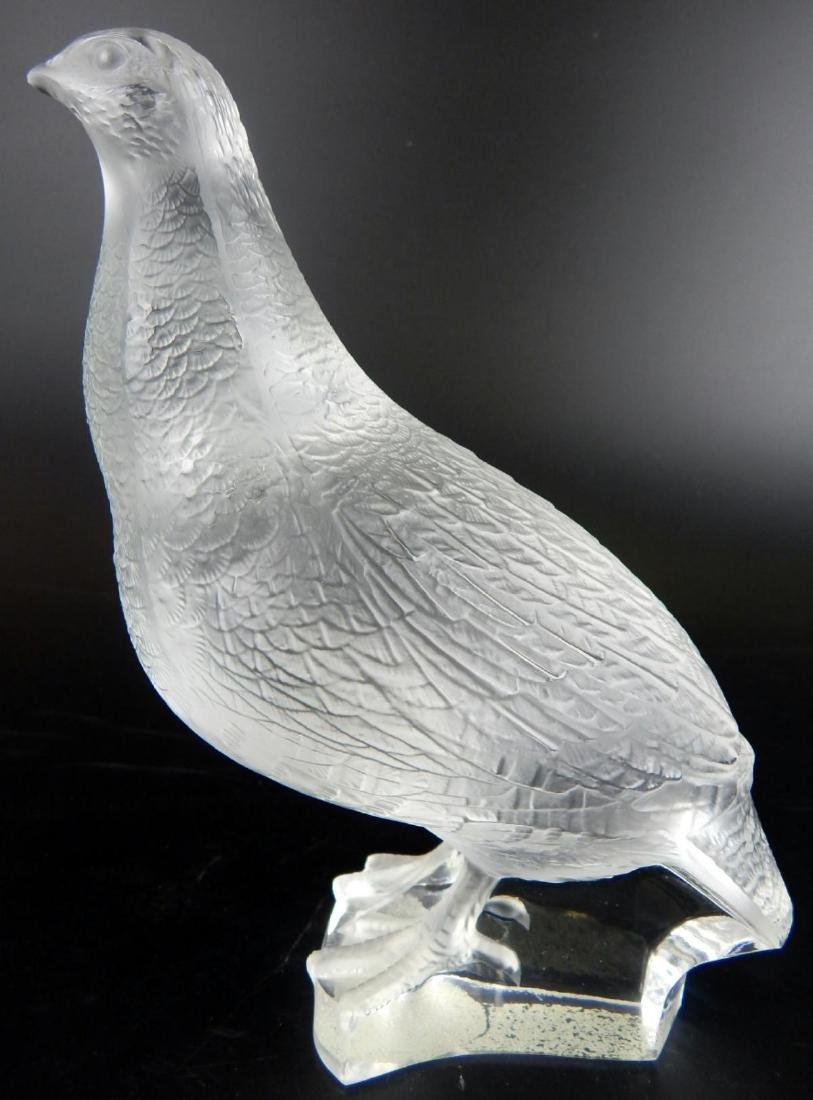 """LALIQUE FROSTED CRYSTAL """"QUAIL"""" SCULPTURE"""