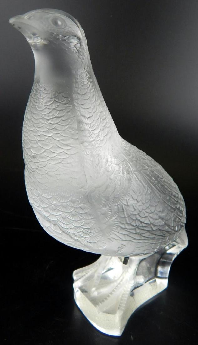 """LALIQUE FROSTED CRYSTAL """"QUAIL"""" SCULPTURE - 2"""