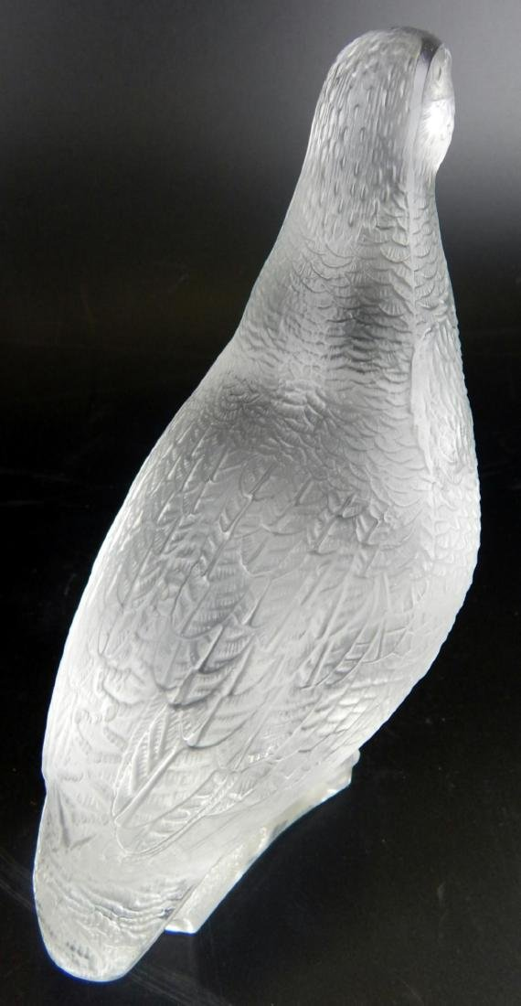 """LALIQUE FROSTED CRYSTAL """"QUAIL"""" SCULPTURE - 6"""