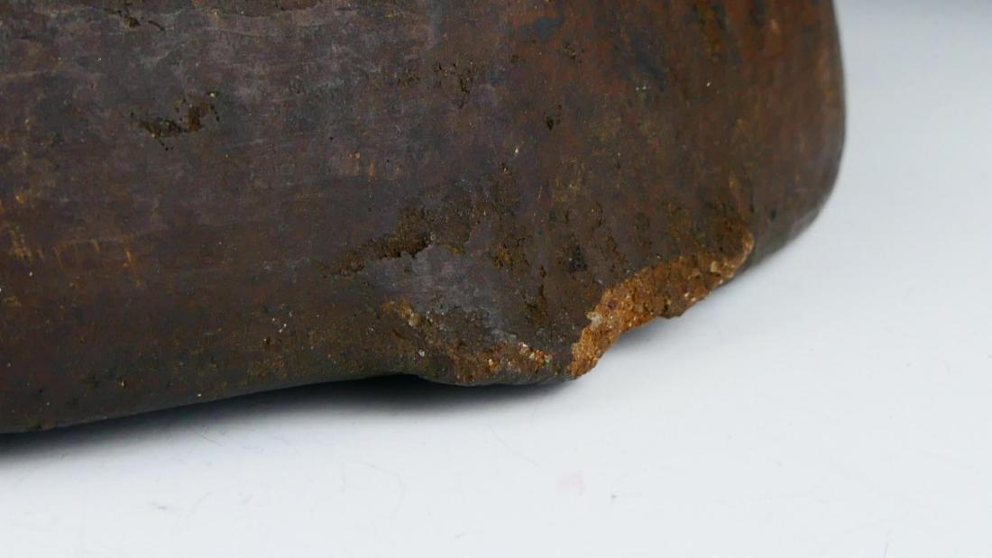 PRE-COLUMBIAN DARK BROWN GLAZE POTTERY WIDE BOWL - 7