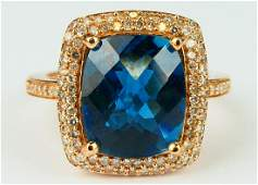 14KT Y GOLD TOPAZ AND DIAMOND LADIES RING