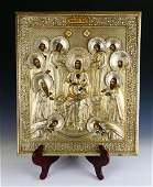 19th C RUSSIAN HAND PAINTED SILVER OVERLAY ICON