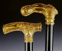 2 ANTIQUE GOLD PLATED HANDLE WALKING CANES