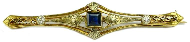 14K GOLD ART DECO SAPPHIRE & DIAMOND BROOCH PIN