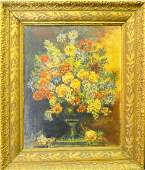 ANTIQUE SIGNED STILL LIFE OIL PAINTING ON CANVAS