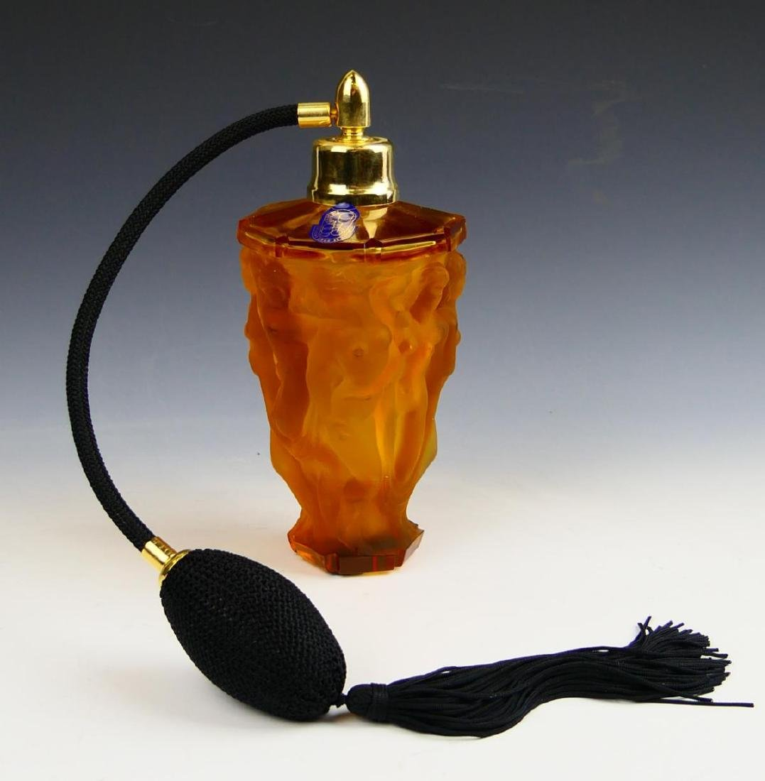VINTAGE CZECH AMBER Glass Perfume
