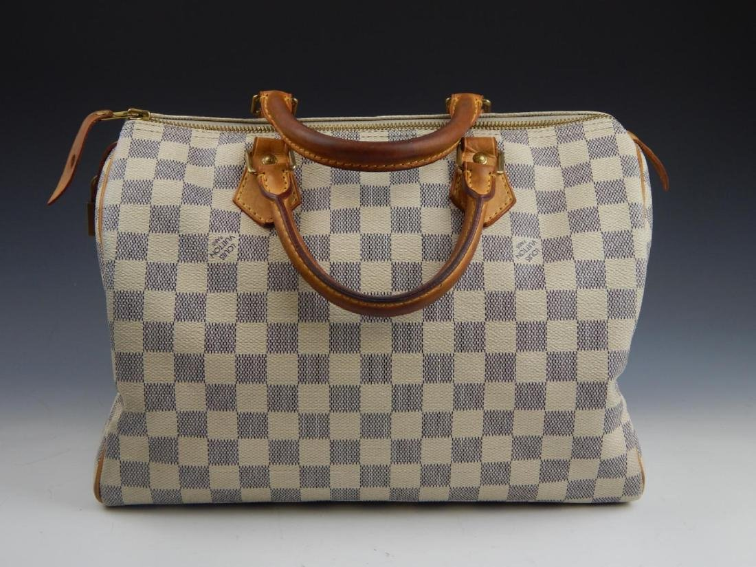 LOUIS VUITTON DAMIER AZUR LEATHER SPEEDY HANDBAG