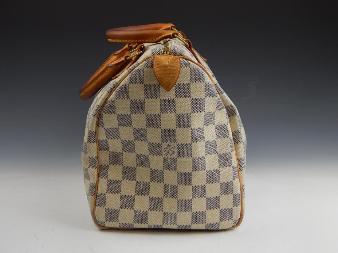 LOUIS VUITTON DAMIER AZUR LEATHER SPEEDY HANDBAG - 3
