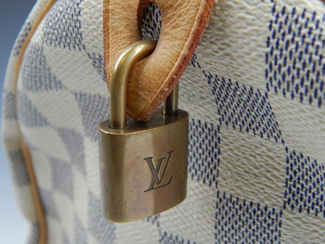 LOUIS VUITTON DAMIER AZUR LEATHER SPEEDY HANDBAG - 6