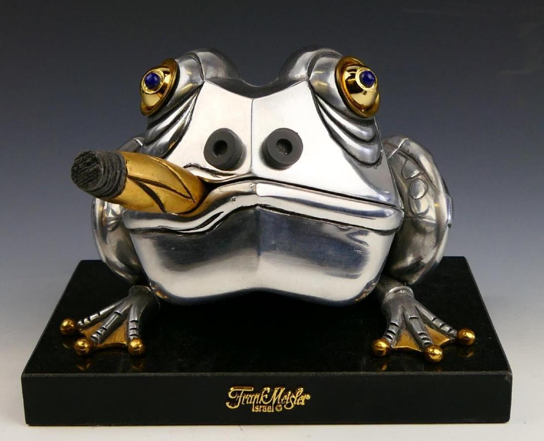 FRANK MEISLER METAL FROG w CIGAR BOX SCULPTURE