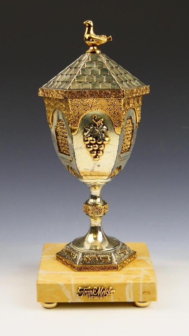 FRANK MEISLER DOVE COVERED KIDDUSH CUP WITH BASE - 3