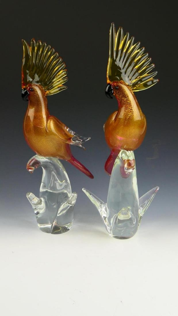 PAIR MURANO ITALIAN GLASS SCULPTED COCKATOO - 3