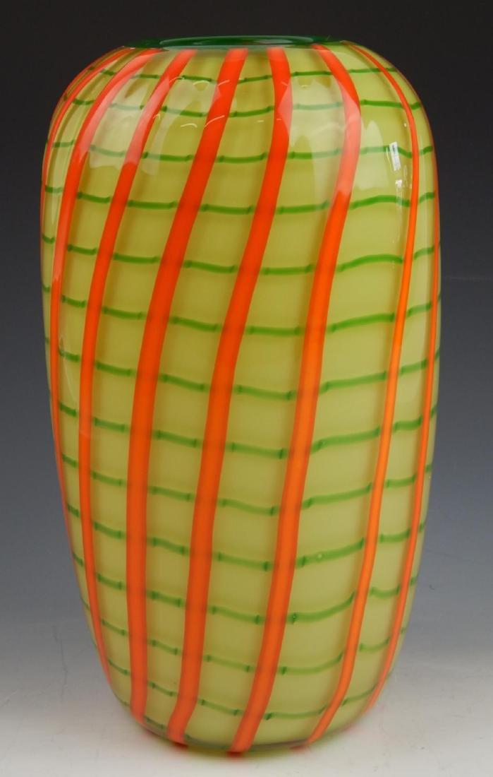 CHATAHAM GLASS CO ART GLASS RIBBON VASE