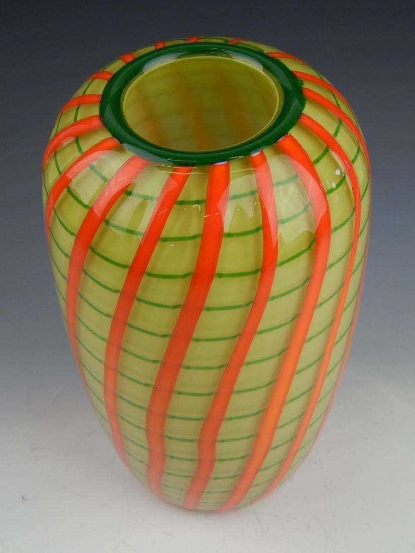 CHATAHAM GLASS CO ART GLASS RIBBON VASE - 2