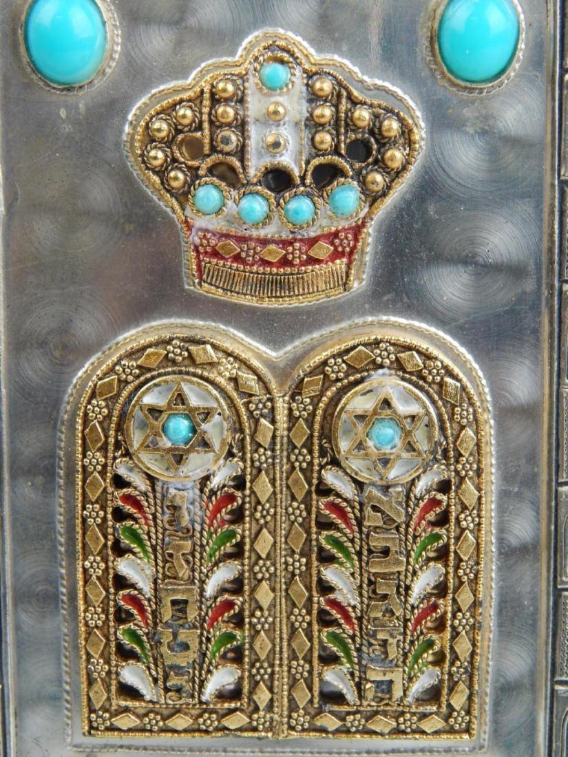 JUDAICA SILVER PLATED ENAMELED TORAH - 4