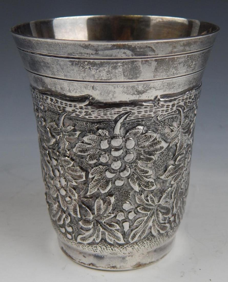 STERLING SILVER ORNATE RELIEF KIDDISH CUP