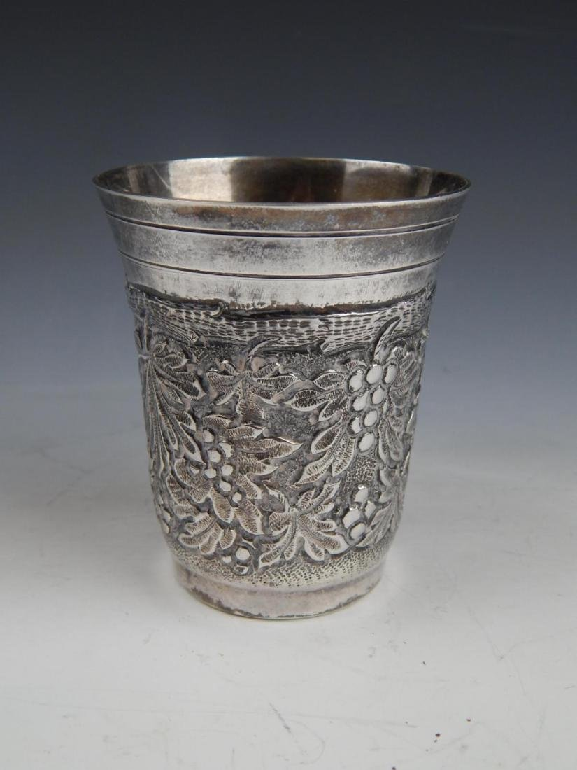 STERLING SILVER ORNATE RELIEF KIDDISH CUP - 2