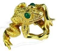 KURT WAYNE 18K YELLOW GOLD FIGURAL FROG RING