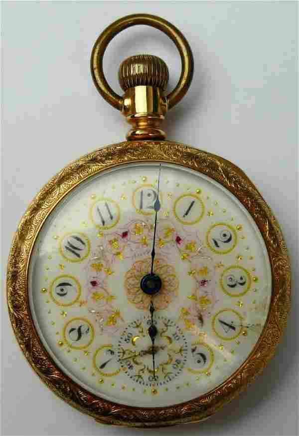 ANTIQUE WALTHAM GOLD PLATED OPEN FACE POCKET WATCH