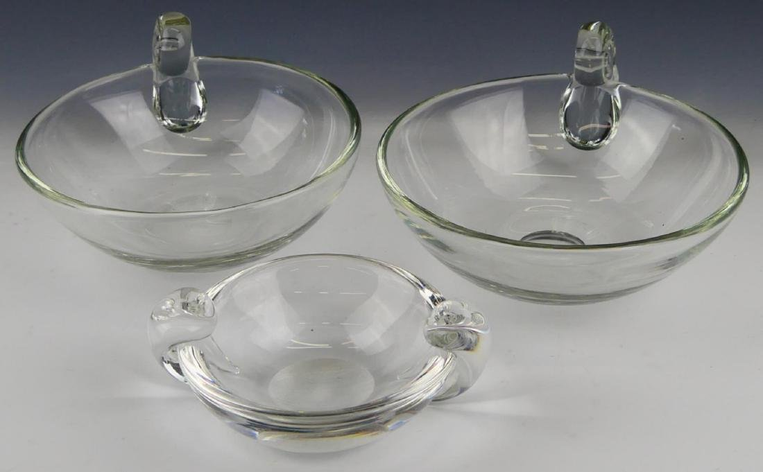LOT OF 3 STEUBEN CLEAR GLASS HANDLED BOWLS