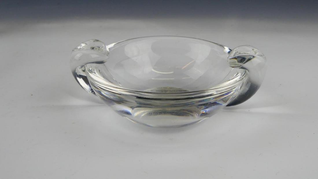 LOT OF 3 STEUBEN CLEAR GLASS HANDLED BOWLS - 3