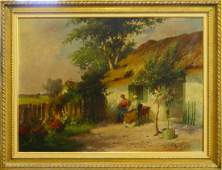 19th C DUTCH OIL PAINTING ON CANVAS LADIES SIGNED