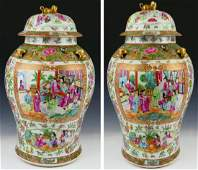 PAIR FINE 19THC CHINESE ROSE MEDALLION JARS