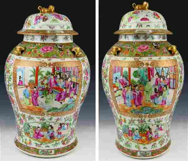 PAIR FINE 19TH.C CHINESE ROSE MEDALLION JARS