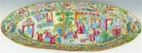 FINE 19THC CHINESE ROSE MEDALLION LONG PLATTER
