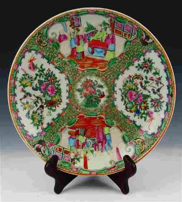 FINE 19TH.C CHINESE ROSE MEDALLION CHARGER