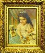 EMILE MUNIER FRANCE 18401895 OIL OF GIRL w CATS