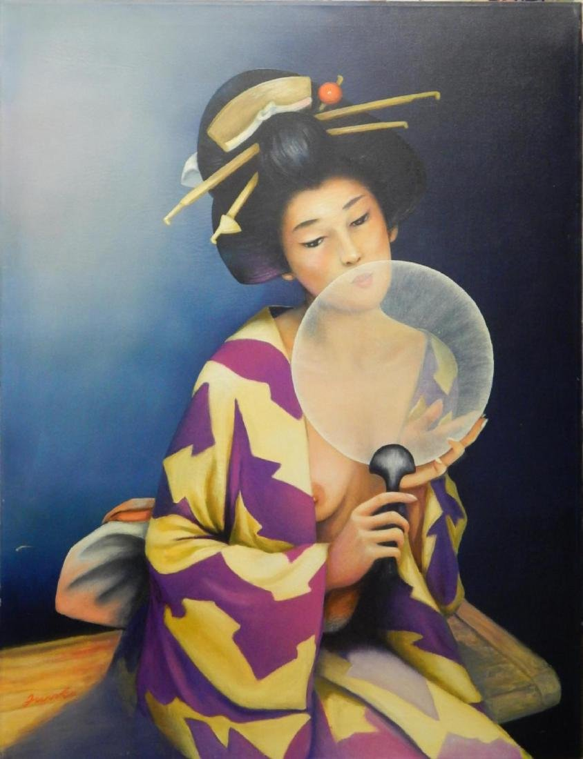 SIGNED OIL PAINTING ON CANVAS OF NUDE GEISHA GIRL