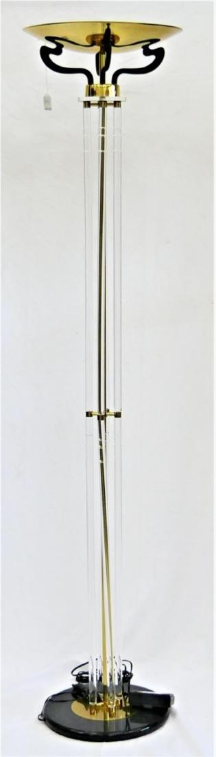 LUCITE & GILT BRASS TORCHIERE FLOOR LAMP