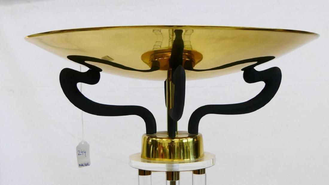 LUCITE & GILT BRASS TORCHIERE FLOOR LAMP - 3