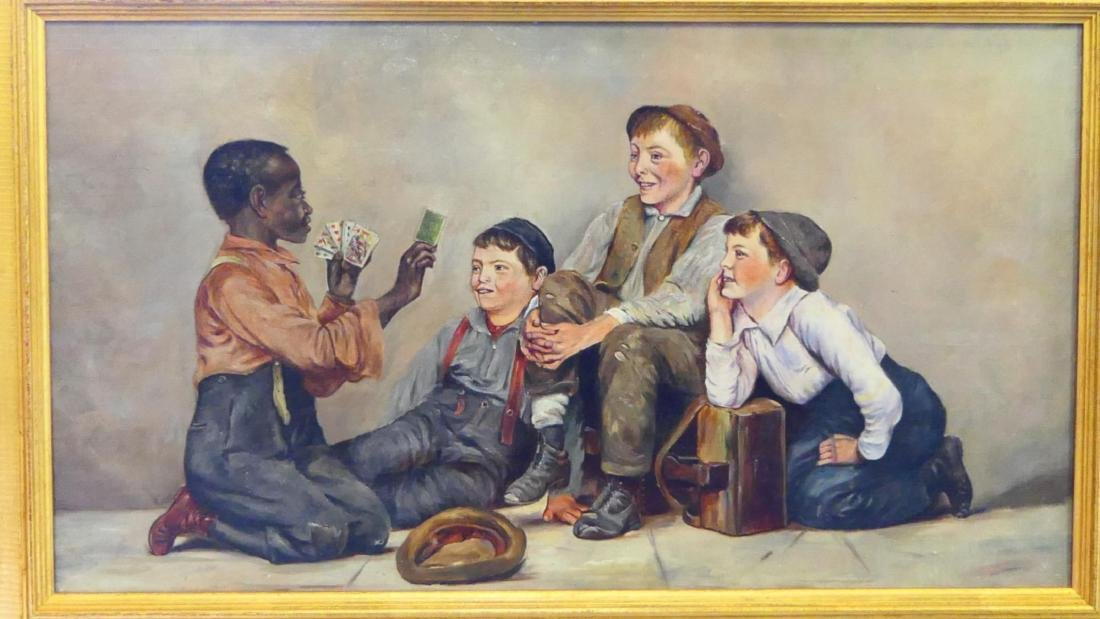 "OIL PAINTING ""GAMBLING KIDS"" ON CANVAS - 2"