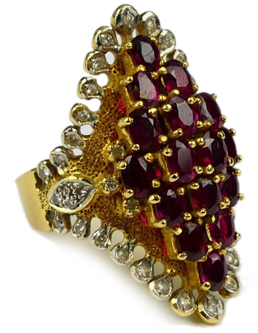 14K YELLOW GOLD RUBY & DIAMOND WIDE RING Sz8.5