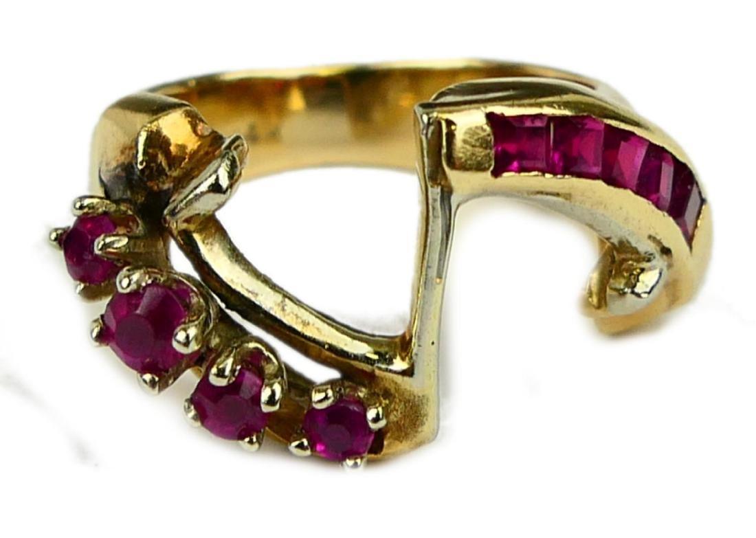 14K YELLOW GOLD PRINCESS & ROUND RUBY RING